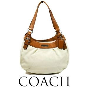 Coach F19453 Soho Leather Hobo White/Nutmeg Bag
